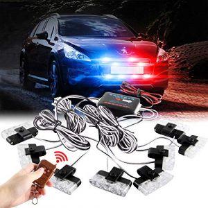 Sidaqi 8x2LED 8 en 1 télécommande sans fil 12V stroboscopique d'urgence lumière clignotant pour voiture camion DRL lumière de police ambulance (4 lumière Rouge, 4 lumière Bleu) (Caiwanbing, neuf)