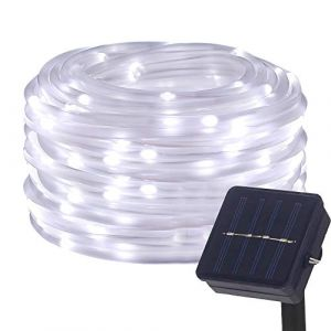 DULEE Guirlande Tube Lumineuse Solaire 10M 100 LED Tube Lumineux Extérieur étanche Lumière de Fée Décorative,Blanc (YUANDIANZI, neuf)