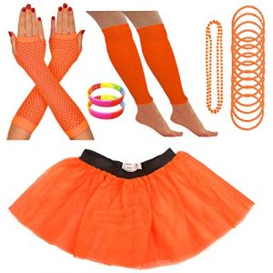 Redstar Fancy Dress - Tutu/guêtres/Mitaines résille/Collier de Perles/Bracelets en Caoutchouc/Bracelets Fluo - Orange - 36-40 (Redstar Online, neuf)