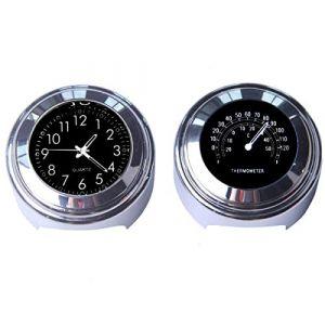 """Maso Lot avec horloge et thermomètre Pour guidon de moto 7/8"""" (22 mm) Universel Étanche Noir (MASO TECHNOLOGY CO.,LIMITED, neuf)"""