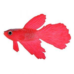 HEEPDD Faux Poisson Artificiel pour Aquarium, Décoration de Poissons Fausse d'aquarium Ornements artificiels Poisson Artificiel drôle de Silicone pour l'aquarium(Poisson Betta Rouge) (Magwen-Z, neuf)