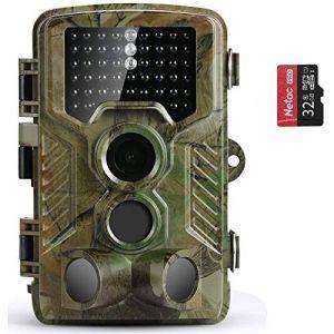 Caméra de Chasse Coolife Caméra de Surveillance Étanche 49 LEDs 16MP 1080P HD 25m Grand Angle 125 ° De Vision Nocturne Traque IR Caméra de Jeu Nocturne Infrarouge (yipinhong, neuf)