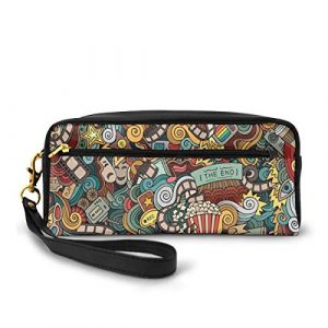 Pencil Case Pen Bag Pouch Stationary,Cinema Items Combined In An Abstract Style Popcorn Movie Reel The End Theatre Masks,Small Makeup Bag Coin Purse (Huageguli, neuf)