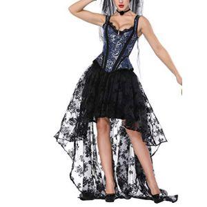 FeelinGirl Robe Gothique Femme Halloween Robe Gothique XS Robe Bustier Gothique Robe Gothique Punk Robe Renaissance Gothique Corset Steampunk Violet Corset Steampunk Rouge Abricot XL (FLYCOOL INC, neuf)