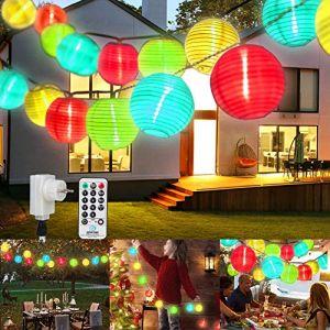 Guirlande Exterieur LED Lanterne, ETMURY Guirlande Lanterne 13m 8 Modes 40LED IP 44 Guirlande Lumineuse avec Télécommande,Lampion Decoration pour Jardin, Balcon,Terrasse,Chambre,Sapin(multicolore) (zhouhjiujdk, neuf)