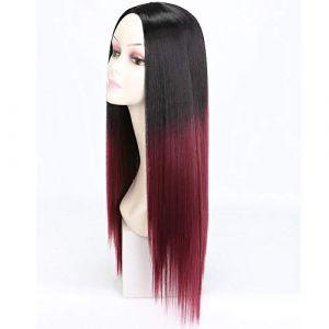 Mesdames perruque perruque dégradé teinture longue perruque de personnalité raide, cheveux Noir T vin rouge (petrichor87, neuf)