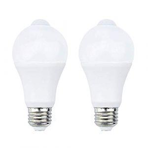 Bonlux 7W E27 PIR Infrarouge Ampoule LED avec Détecteur de Mouvement ON/OFF Automatiquement A60 220V 700lm équivalent 70W Halogène pour Escalier Couloir Garage?Lot de 2,Blanc Chaud 2700k? (NiceTe uk, neuf)