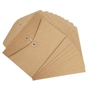 Lot de 10pcs A5 Sac de Fichier en Papier Kraft Dossier de Fichier avec Ligne Boucle Sac Enveloppe de Document Epais File Folder Porte-documents Pochette Rangement à Dossier Fournitures Scolaire Bureau (LONGTENGUK, neuf)