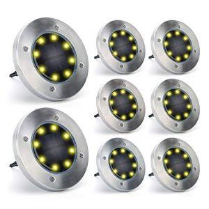 Tasmor Lumière Solaire Extérieur 8 Pack, Spot Encastrable Extérieur au Sol Étanche IP65 8 LED Jaune Chaud, Lumière Spot Décorative pour Chemin Jardin Escalier Pelouse Terrase etc. (FunCombo, neuf)