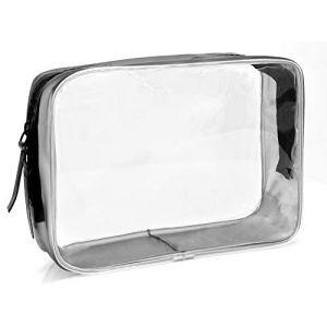 MyGadget Pochette de Voyage en Plastique Transparent pour Avion Bagage Cabine - Trousse Maquillage & Cosmétiques PVC Imperméable - Taille M (DBSW Trading GmbH, neuf)