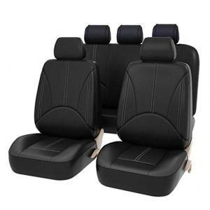 AUTO HIGH Couverture de Siège de Voiture Universelle 11 Pièces - Housse de Siège Auto Complet Ensembles - Couvre/Protecteurs de Sièges Avant et Arrière Similicuir, Noir #1 (AUTO HIGH SIRU, neuf)