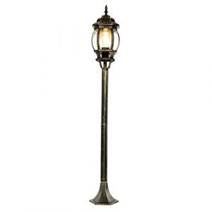 """Lampe de chemin rustique""""Brest"""" en noir-or avec E27 IP43 lampe de jardin lanterne ancienne extérieur lampadaire (Licht-Erlebnisse, neuf)"""