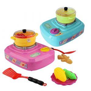 HKFV 23Pcs Mini d'outils de Cuisinière électrique Son Lumière Jouet De Cuisine Plastique Enfants Simulation Réfrigérateur avec Double Porte (Red) (HKFV, neuf)