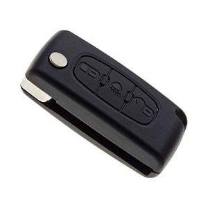 Boitier de Coque de clé Plip pour télécommande de Citroen C4 Picasso, Grand C4 Picasso avec Pile Maxell CR1620 (Jongoshop, neuf)