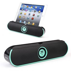 [Double 5W Haut-Parleurs Stéréo Bluetooth]SAVFY® BASS Enceinte Bluetooth 4.0 Haut-Parleur portable Smart NFC 8 heures batterie rechargeable et kit mains libres intégré avec support pour ipad Support pour tablette/ smartphones, iPhone, Samsung (MINT BLEU)