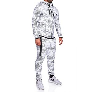 MT Styles Ensemble Pantalon de Sport + Sweat-Shirt Jogging survêtement R-739 [Blanc, XXL] (Mytrends, neuf)