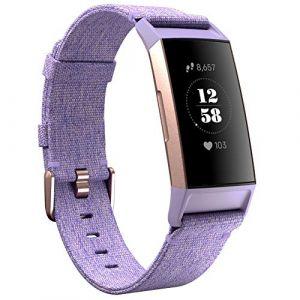 KIMILAR Compatible avec Fitbit Charge 3 Bracelet Rechange Tissé Nylon Band, Lavande (EZEU, neuf)