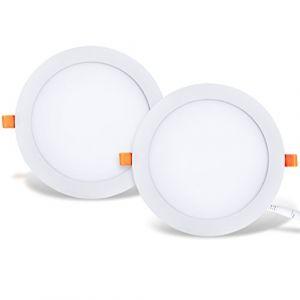 LVWIT 2x 25W Ultra slim LED encastré, remplace l'halogène 150W, Plafonnier rond avec driver, Blanc Neutre 4000K 2250Lm, AC 230V, downlight/spots encastrés/spots encastrés (lot de 2) (ANWIO, neuf)