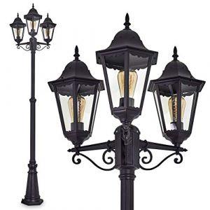Lampadaire Hongkong à 3 lumières en aluminium - Candélabre extérieur pour un éclairage optimal de votre jardin - Luminaire extérieur jardin qui créera une atmosphère chaleureuse (hofstein, neuf)