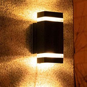 Applique Murale Interieur/Exterieur 35W Lampe d'extérieur Murale Etanche IP54 Applique Luminaire En Aluminium pour Salon Chambre (Cube, Noir) (Realux, neuf)
