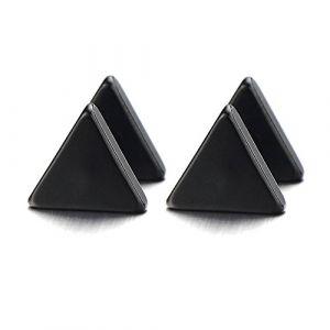 10MM Triangle Noir Boucles d'oreilles Homme Femmes - Bouchon d'oreille - Jauge d'oreille Faux Cheater Fake Acier 1 Paire (iMECTALII EU, neuf)