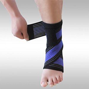 Tendinite Talon d'Achille Gonflé Inflammation - Bande Cheville Strapping Chevillère - Douleurs et Blessure Rupture (Chevillère + Bande élastique BLEU/NOIR) (Elastrap, neuf)