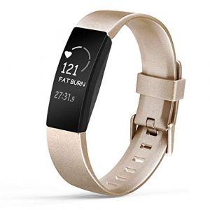 Amzpas Compatible pour Fitbit Inspire Bracelet & Fitbit Inspire HR Bracelet, Classique Bracelet Bande de Remplacement Compatible pour Fitbit Inspire HR(02 Or,L) (SMXMY-CN, neuf)