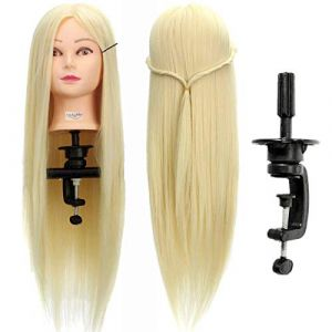 LuckyFine Professionnel 26'' Super Long 30% Cheveux Naturels Coiffure Equipement Mannequin Tête d'exercice Tête à coiffer + Support (Tiopeseer, neuf)