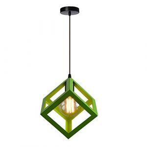 STOEX Suspension Luminaire Industrielle Contemporain, Lustre Abat-Jour Plafonnier en Métal Fer Cage E27 (Cube-Vert) (STOEX, neuf)
