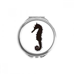 DIYthinker motif noir hippocampus vie marine miroir rond maquillage de poche à la main portable 2,6 pouces x 2,4 pouces x 0,3 pouce Multicolore (bestchong, neuf)