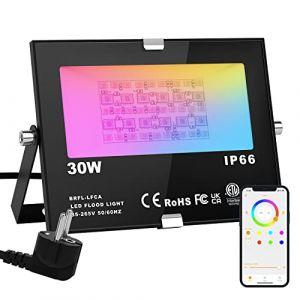 RGB Projecteur LED Exterieur 15W contrôlé par smartphone Bluetooth, Intelligente RGB Spot LED de Couleur, IP66 Etanche, 20 Modes 16 millions Couleurs, pour Terrasse, Jardin et Garage (SiDell, neuf)
