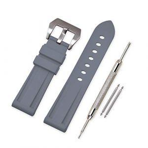 Vinband Bracelet Montre Camo Remplacer Silicone Bracelet Montre - 20mm, 22mm, 24mm, 26mm Caoutchouc Montre Bracelet avec Acier Inoxydable Boucle for Panerai (26mm, Gray) (vinband direct, neuf)