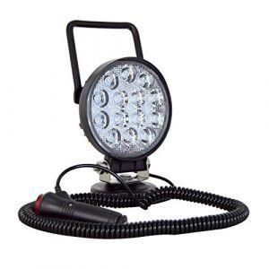 AUXTINGS 4 pouces 42W Rond Portable LED Lampe De Travail Offroad Projecteur Allume cigare Interrupteur avec Support de Base Magnétique pour SUV Remorque Tracteur Camion Ingénierie Maintenance Camping (AUXTINGS-EU, neuf)
