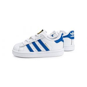 adidas Chaussures Superstar I Blanc/Bleu/Blanc Taille: 17 (Brettwerk, neuf)