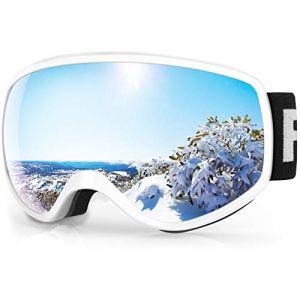 findway Masque de Ski Enfant 3 à 8 Ans - Lunettes de Ski Enfant Masuqe Ski pour Garçon et Fille Anti-UV Antibuée Compatible avec Casque pour Ski Autres Sports (Lentille Gris/Argent (VLT 21%)) (Findway Direct, neuf)