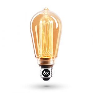 Ampoule Crown LED 6x Edison | Douille E27, Dimmable, 3,5 Watts, 1800k, Lumière blanche, 230 Volts, EL24 | éclairage à filament antique dans un style rétro Vintage, 1 x Classe énergétique EU : A+ (CROWN LED GmbH, neuf)