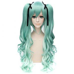 Miku Cosplay Perruque Lotita Perruques De Gradient Vert Cheveux Bouclés Perruque Partie + 2 Queue De Cheval (Ai.Moichien, neuf)