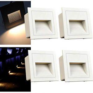 ?? Applique murale LED 3 W - Éclairage d'escalier - Éclairage d'escalier - Éclairage d'escalier - Éclairage en aluminium - 230 V - IP65 (warm white/white cover, 4Pcs) (Wonderful2018, neuf)