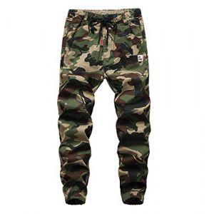 YoungSoul Pantalons garçon - Jogging avec Chevilles imprimé Camouflage - Pantalon Cargo à Taille élastique Vert(Regular Fit) 7-8 Ans (YoungSoul - EU, neuf)