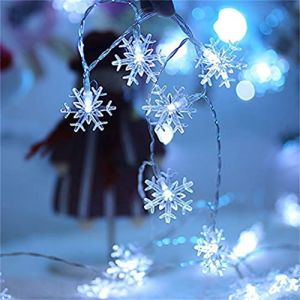 BSMEAN guirlandes solaires guirlandes de fées de Noël 20 lumières décoratives en forme de flocon de neige alimentées à l'énergie solaire pour jardin patio clôture belvédère fête mariage (Hinder, neuf)
