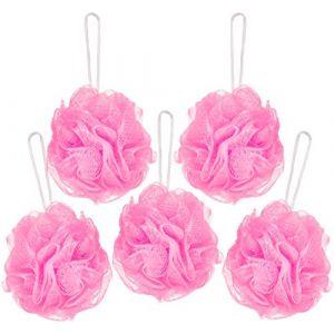 BRUBAKER Cosmetics - Fleur de bain & douche - Lot de 5 - Éponge exfoliante - Qualité supérieure - Nylon - Rose (BRUBAKER (Der Schnellversender!), neuf)