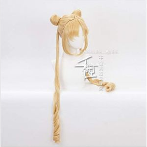 Nouveau marin lune Tsukino Usagi longue bouclée Blonde Double queue de cheval synthétique Cosplay perruque pour fille Costume fête   rouge (sipingshihengdeshangmao youxiangongsi, neuf)