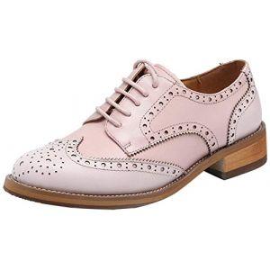 Classique Cuir Style Chaussures Derbies Pour Femme à Talonnettes Mona Bourgogne39 (Betty boutik, neuf)