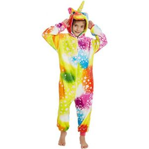 FMDD Pyjama Licorne Enfants Kigurumi Pyjamas Enfants De Cosplay Onesies Licorne Costume (A - Licorne colorée, 140 / Hauteur 136-145cm) (sunbaby, neuf)