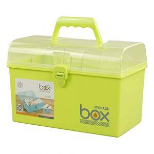 Mayish Plastique Vert Boîte Médicament Boîte à Pharmacie Boîte de Premiers Secours Petite Boîte de Rangement avec Serrure Compartiments Soins 2 Couches Spacieuses, 1 Paquet (Mayisher, neuf)