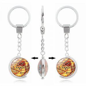 Umerbee Keychain 1pcs rotatif à double face carte de Paris Porte-clés temps Gems Porte-clés Porte-clés cadeau (Umerbee, neuf)