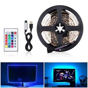 Bande flexible de lumière de LED USB, 5050 RVB flexible, bandes de lumière de 12V DC, bande décorative d'intérieur LED pour des arrière-plans de TV Lumière Barre de voiture de cuisine de(2M 60LED) (Doqo-eu, neuf)