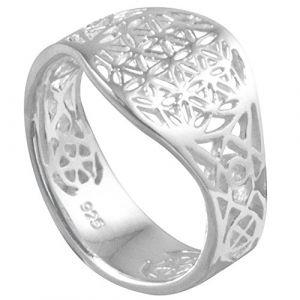 Vinani Bague - Fleur de Vie - Mandala - lustré - ouvert - Argent 925 - Taille 62 (19.7) - RLB62 (VINANI Jewels, neuf)