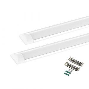 2X LED Batten Tube Light 20W, 60cm LED Réglette Plafonnier Néon, Blanc Chaud 3000K pour Bureau, Cuisine, Garage (penchin, neuf)