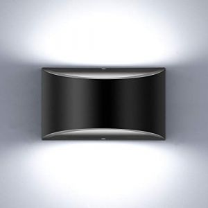 Glighone Applique Murale Intérieur LED Réglable Éclairage Lampe Murales Noir 10W Moderne Luminaire Mural Up Down Appliques Murales en Aluminium Décoratif Lumière pour Chambre Salon, Blanc Froid (Lampop, neuf)